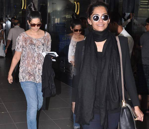 Sonam Returns With Sister Rhea After Birthday Bash In Paris