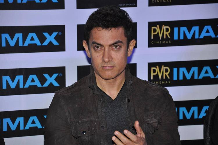 Aamir Khan A Still During The Launch Of PVR's New IMAX Theatre
