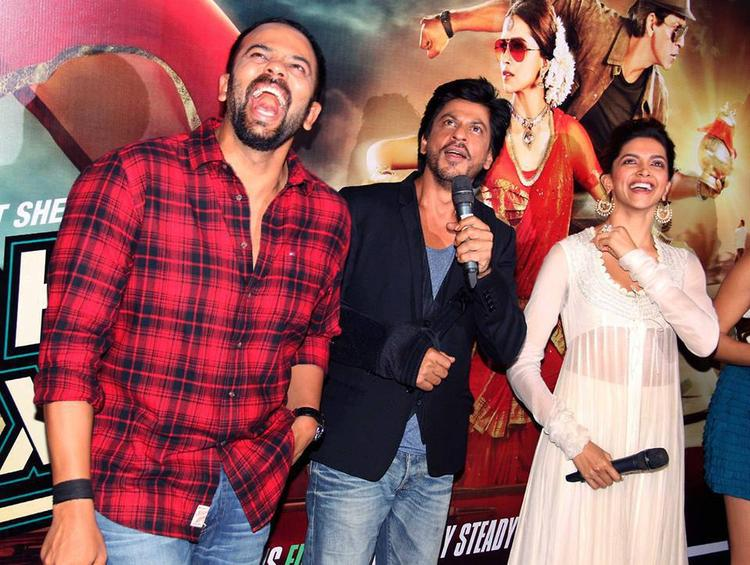 Rohit,Shahrukh And Deepika Laughing Look At The Chennai Express Trailer Launch