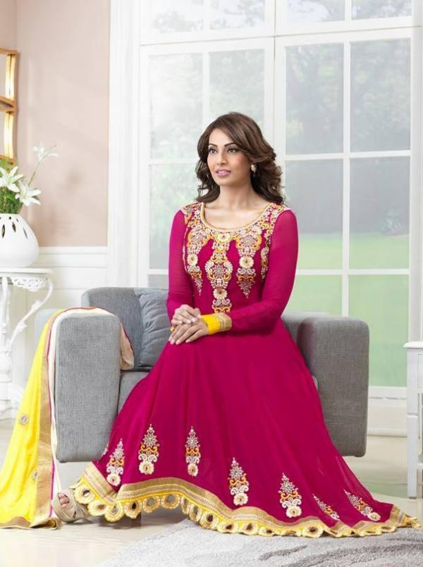 Bipasha Basu Simple Look Photo Shoot In Magenta Anarkali