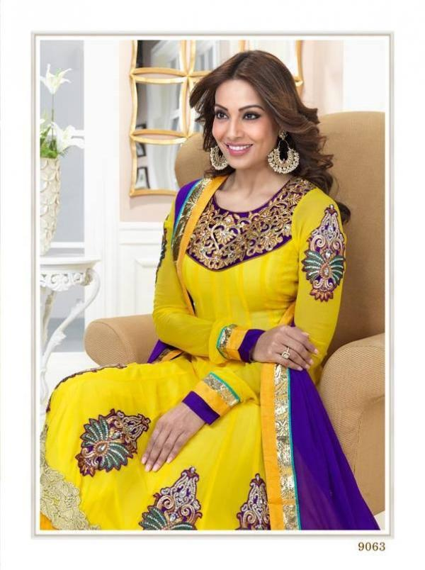 Bipasha Basu Sweet Look In Yellow And Violet Color Anarkali