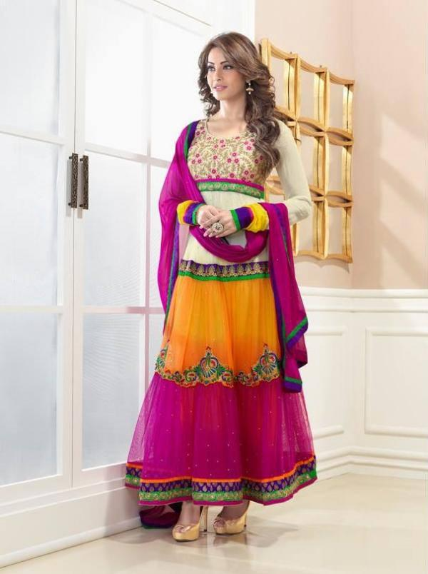 Bipasha Basu In Sweet Multi Color Churidar Suit