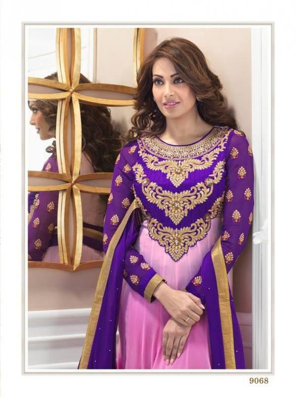 Bipasha Basu Wore A Pink And Violet Designed Anarkali