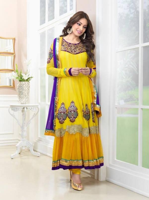 Pretty Bipasha Basu Nice Photo Shoot In Yellow Sweet Anarkali