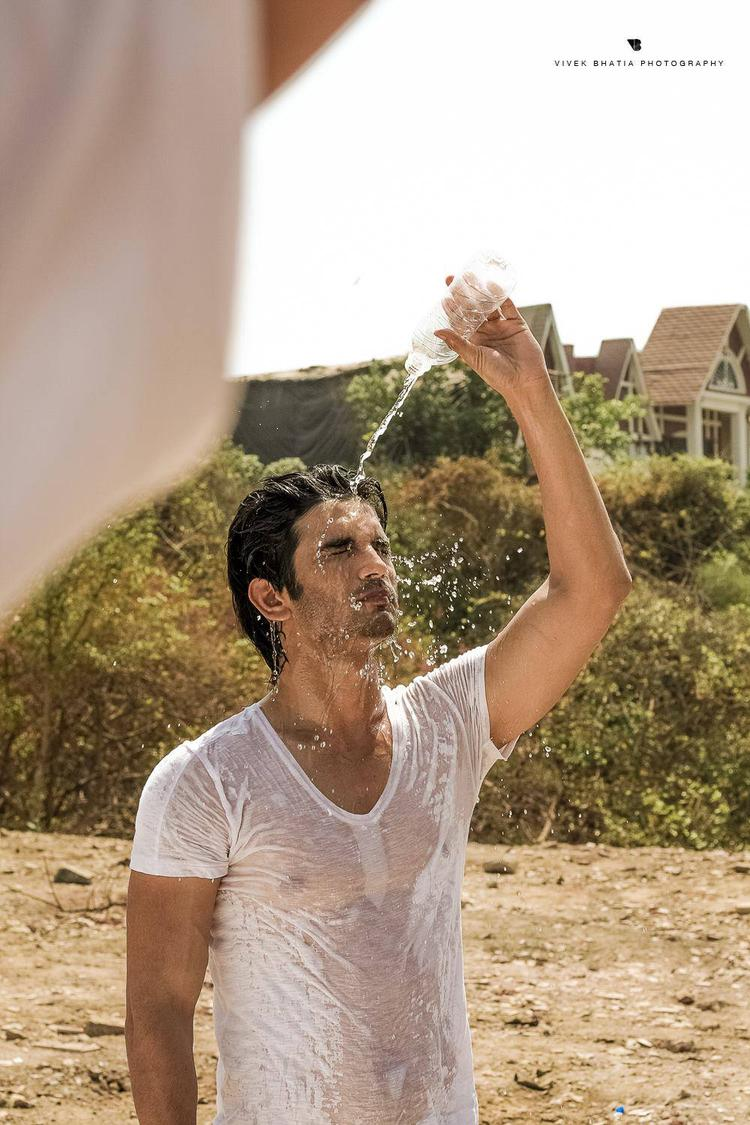 Sushant Singh Rajput Fresh With Water On The Sets Of Filmfare Magazine Photo Shoot