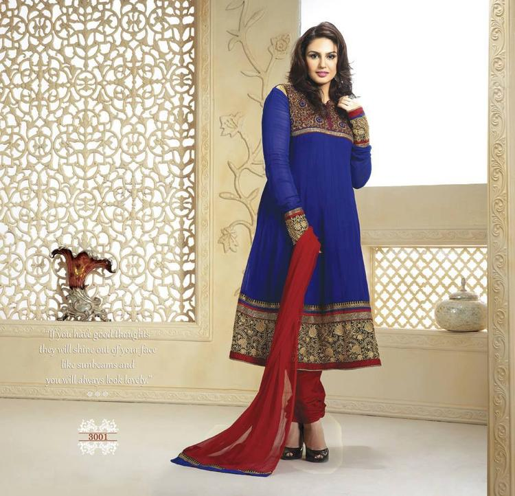 Huma Qureshi In This Gorgeous Royal BLue And Maroon Net Anarkali suit Looks Gorgeous
