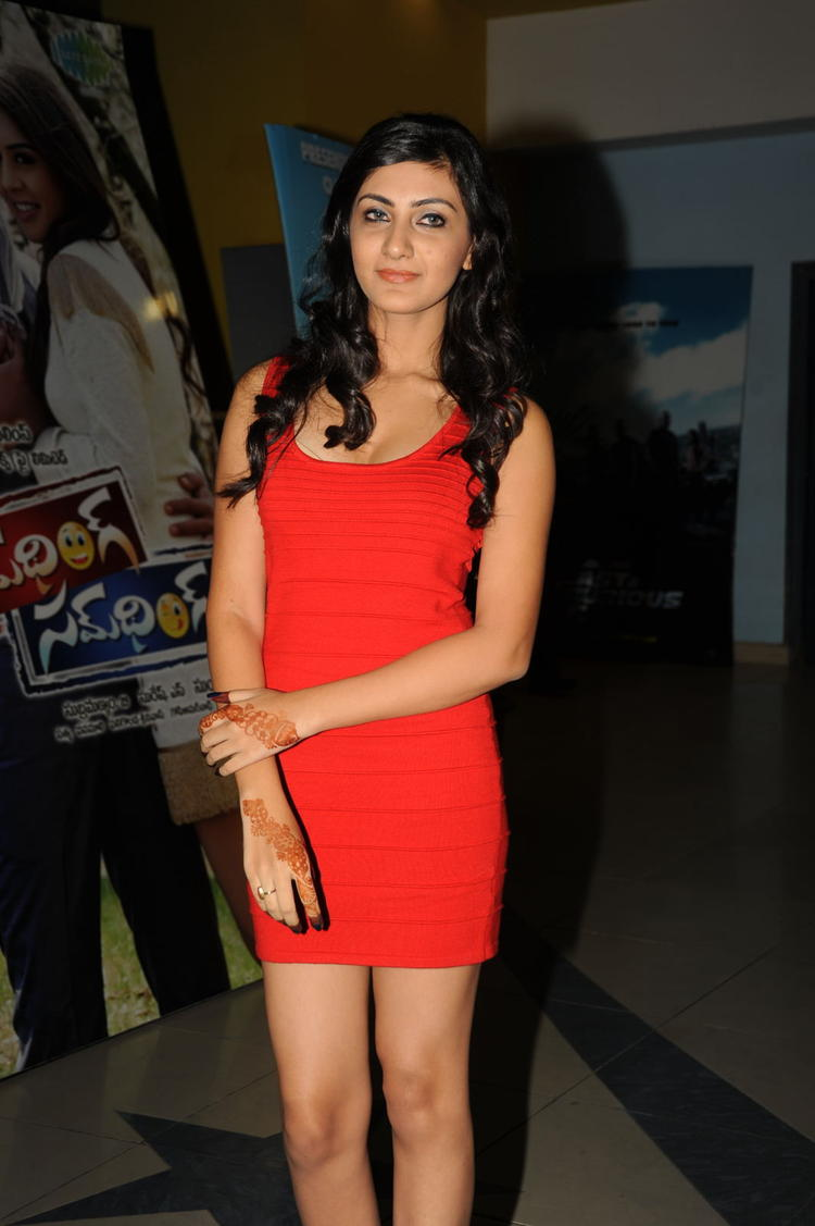 Neelam Upadhyay In Red Dress Hot Look At Action 3D Movie Premiere Show