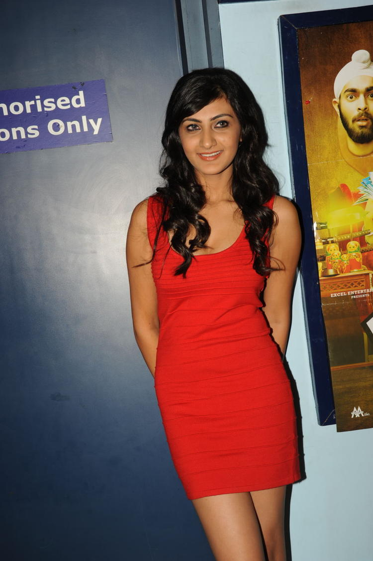 Neelam Upadhyay In Red Short Dress Sizzling Look At Action 3D Movie Premiere Show