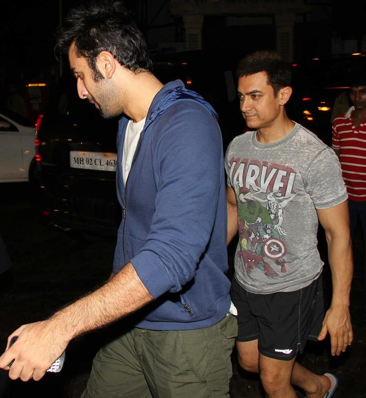 Aamir  With Ranbir Snapped At Ship of Theseus Screening