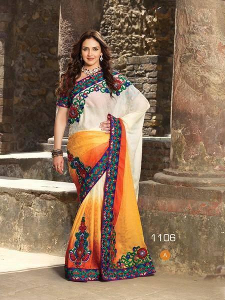 Esha Deol Multi-Coloured Embroidered Semi Chiffon Saree