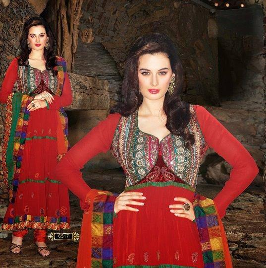 Evelyn Sharma Glowing Look In Red Dress For An Indian Designer Wear