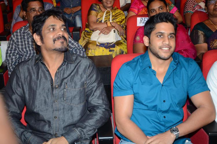 Naga Chaitanya With Nagarjuna At Adda Movie Audio Launch Function