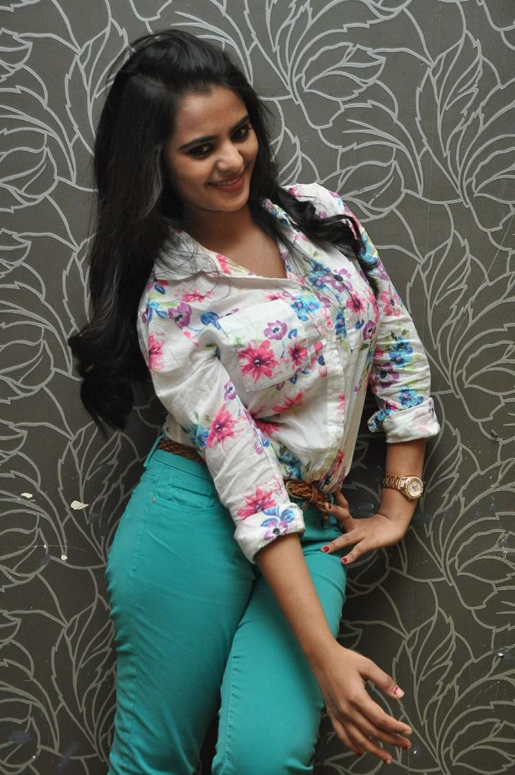 Manasa Western Outfit Hot Look For Romance Movie Press Meet