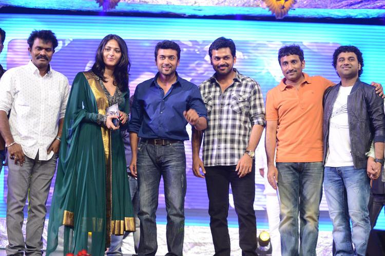 Anushka,Suriya,Karthi,Srinu And Devi Sri Prasad Clicked During The Singam II Audio Release Function