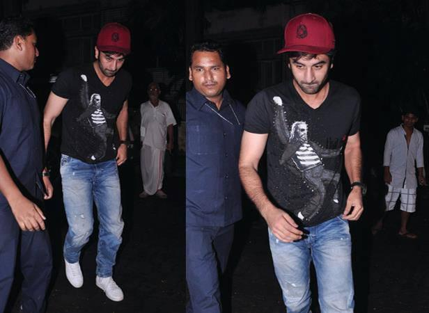 Ranbir Kapoor Stylish Look In Black T-shirt And Red Caps At Arjun Kapoor Birthday Bash