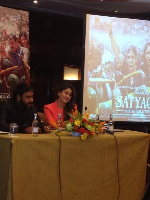Kareena And Ajay Launch Satyagraha Trailer In London