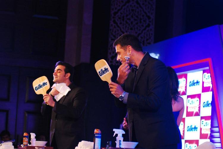 Arbaaz And Rahul Using The Shaving Cream At The Launch Of Gillette Fusion Power