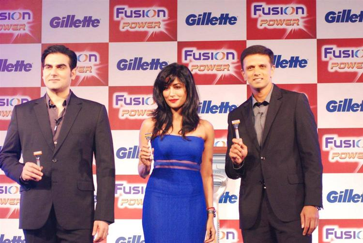 Arbaaz,Chitrangada And Rahul During The Unveiling Of Latest Shaving System Gillette Fusion Power