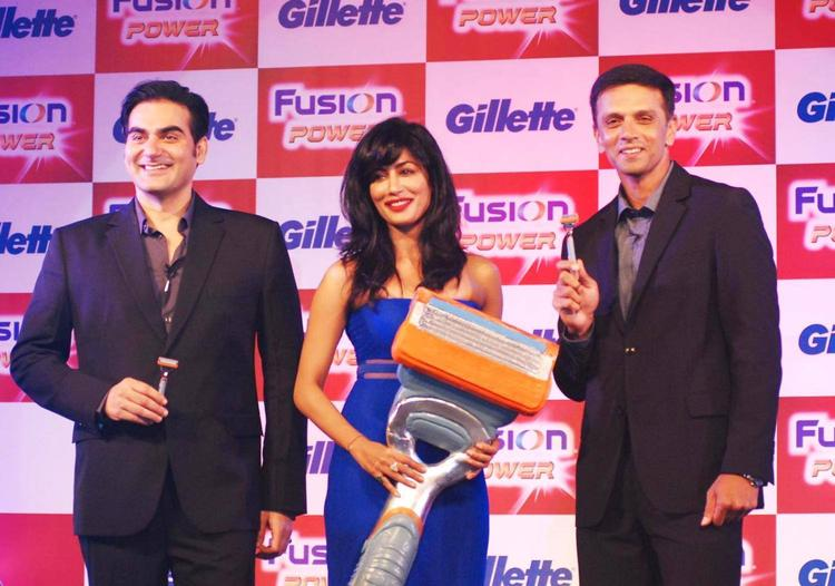 Arbaaz,Chitrangada And Rahul Posed During The Launching Of Latest Shaving System Gillette Fusion Power