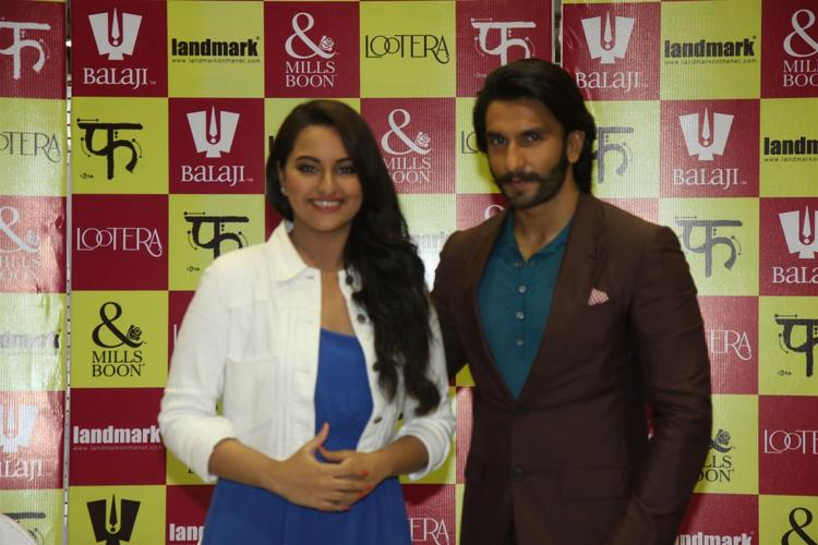 Sonakshi And Ranveer Spotted At The Launch Of Mills And Boon For Film Lootera