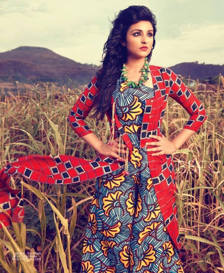 Parineeti Chopra In Printed Gown Fashionable Look Photo Shoot For Filmfare July 2013 Issue