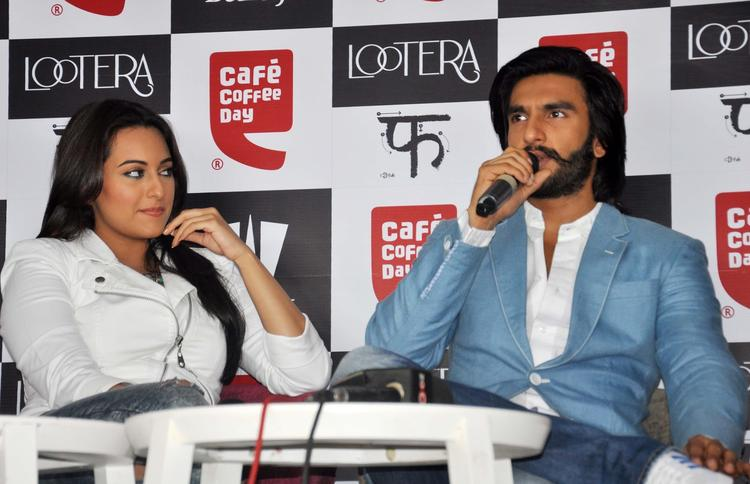 Sonakshi And Ranveer Answer The Media Queries At The Promotion Of The Movie Lootera At Cafe Coffee Day