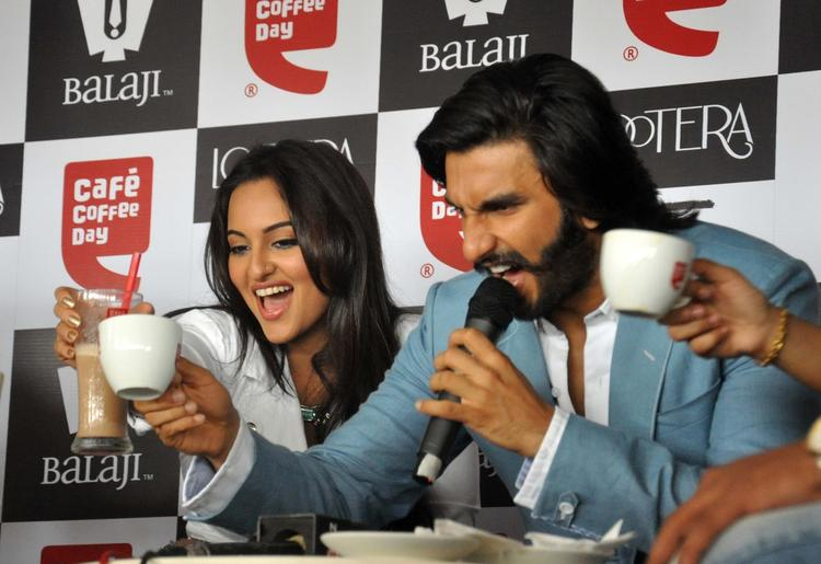 Sonakshi And Ranveer Cool With Coffee During The Promotion Of Lootera At Cafe Coffee Day