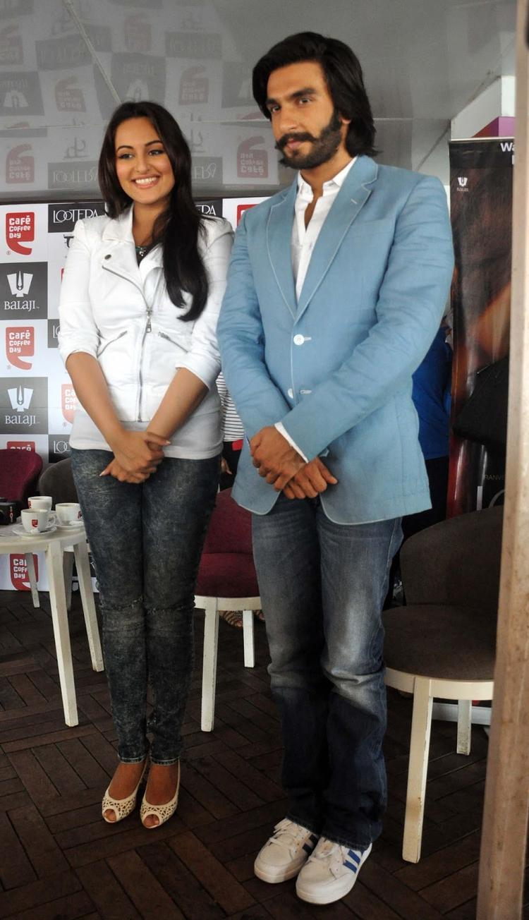 Sonakshi And Ranveer Get Clicked During The Promotion Of The Movie Lootera Held At Cafe Coffee Day