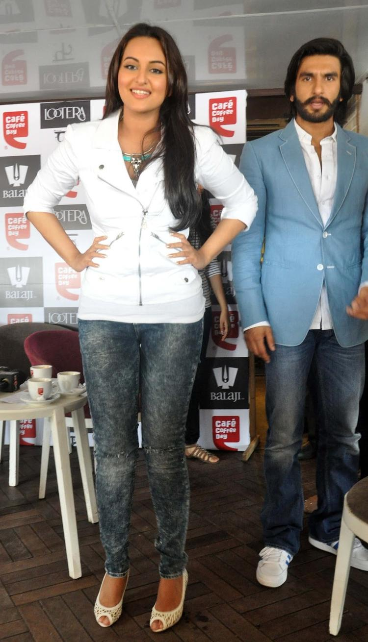 Sonakshi Sinha Combines White Jacket With Denims At The Promotion Of The Movie Lootera Held At Cafe Coffee Day