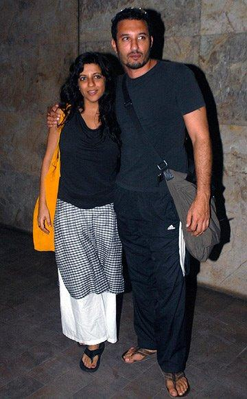 Zoya Akhtar With Homi Adajania Clicked At The Special Screening Of Lootera Movie