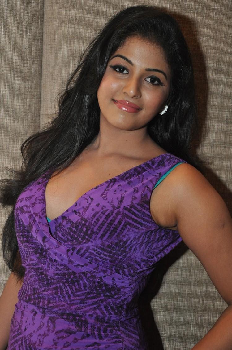Anjali Violet Dress Cool Pic At Balupu Movie Success Meet