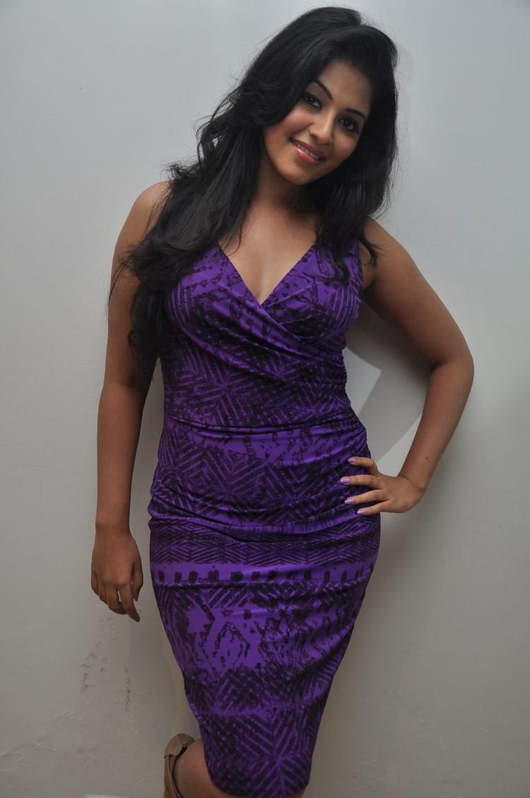 Anjali Wore A Tight Body Con Violet Dress At Balupu Movie Success Meet