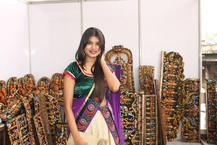 Actress Isha Agarwal At Silk Of India Exhibition
