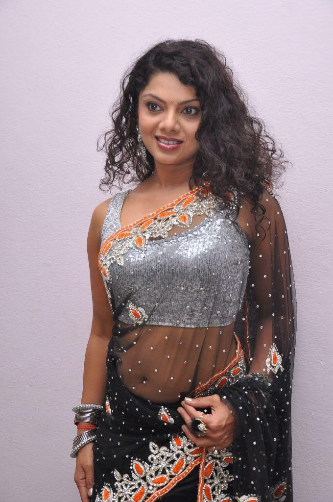 Swathi Varma In Black Transparent Saree Hot Sexy Look At Deal Audio Release Function