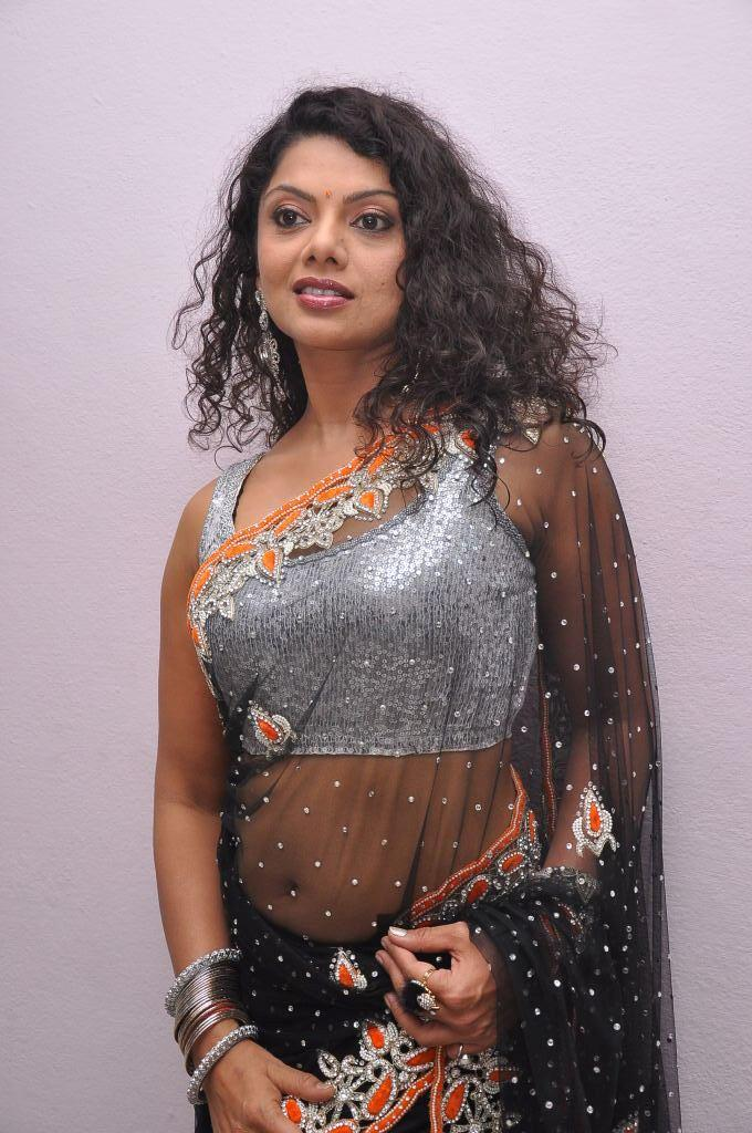Swathi Varma In Black Transparent Saree Spicy Pose At Deal Audio Release Function
