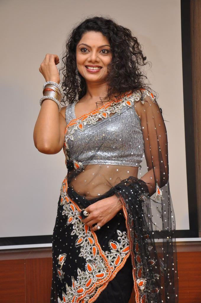 Swathi Varma In Black Transparent Saree Stunning Look At Deal Audio Release Function