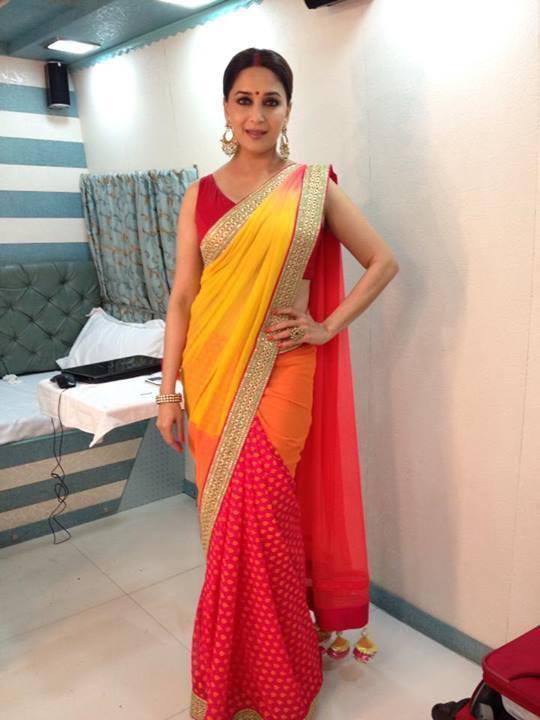 Madhuri Dixit Nene In Saree Glamour Beautiful Look On The Sets Of Jhalak Dikhla Jaa 6