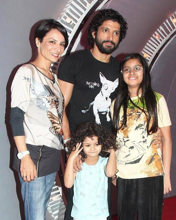 Farhan Akhtar With His Wife Adhuna And Two Cute Daughters Shakya And Akira Nice Photo Still