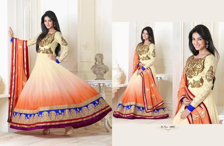 Smiling Sonal Chauhan In Anarkali Glamour Look Photo Shoot Still
