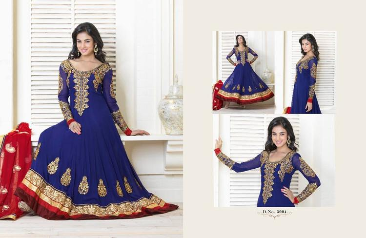 Sonal Chauhan In Blue Anarkali Stunning Look Photo Shoot Still