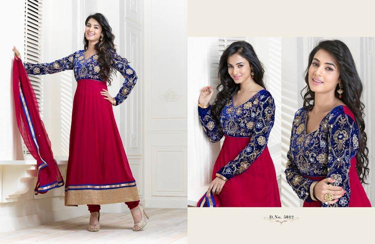 Sonal Chauhan In Blue And Red Anarkali Trendy Look Photo Shoot Still