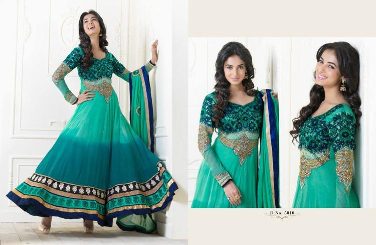 Sonal Chauhan In Green Anarkali Dazzling Look Photo Shoot Still