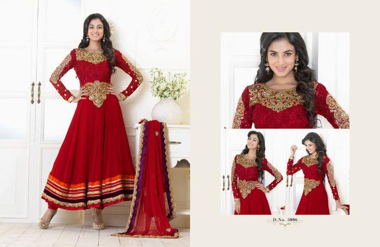 Sonal Chauhan In Red Anarkali Gorgeous Look Photo Shoot Still