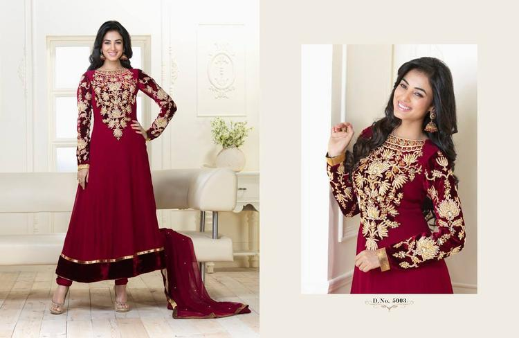 Sonal Chauhan In Red Designer Anarkali Fabulous Look Photo Shoot Still