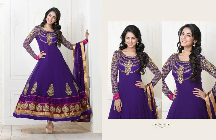 Sonal Chauhan In Violet Anarkali Nice Look Photo Shoot Still