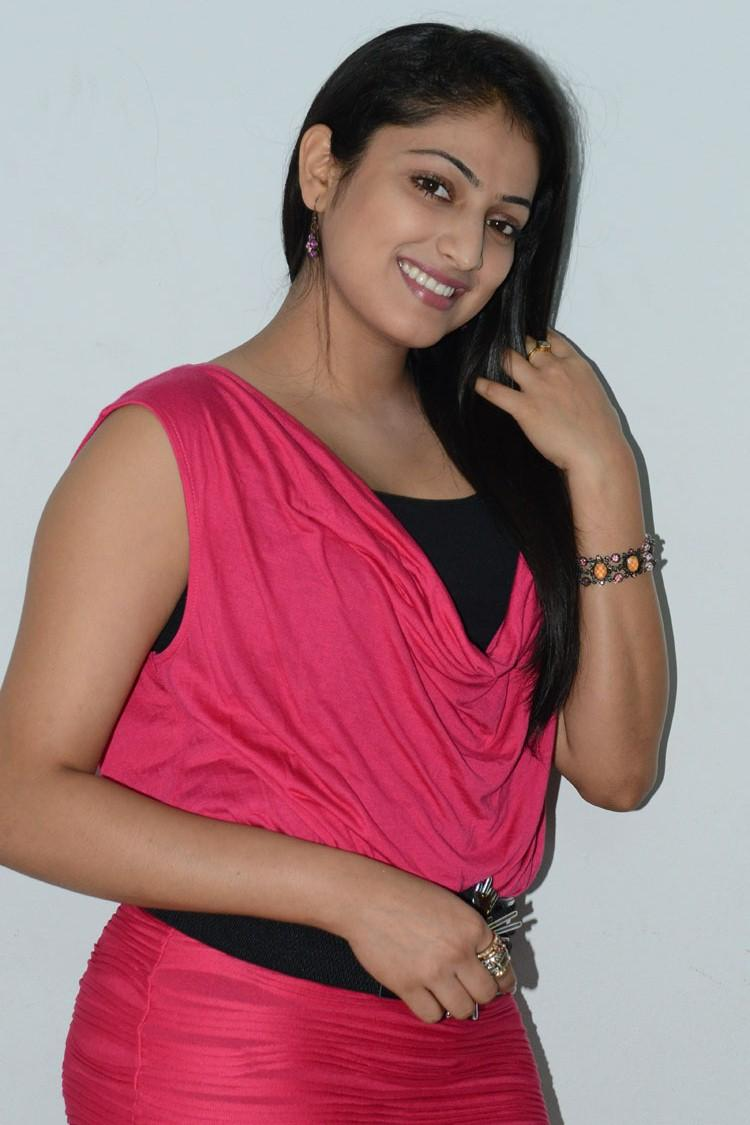 Hari Priya Strikes A Pose During Telugulo Naaku Nachani Padam Prema Press Meet