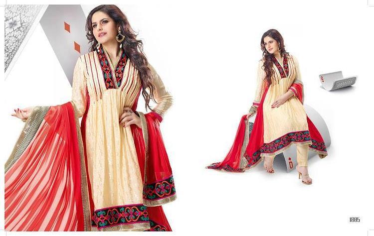 Zarine Khan In Anarkali Designer Outfit 2013 Collection Photo Shoot Still