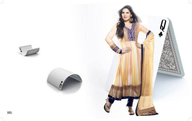 Zarine Khan In Anarkali Dress Stylish Pose Photo Shoot Still