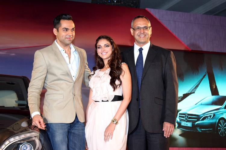 Bollywood Actors Aditi Rao Hydari And Abhay Deol Posing With The Newly Launched Mercedes-Benz New B 180
