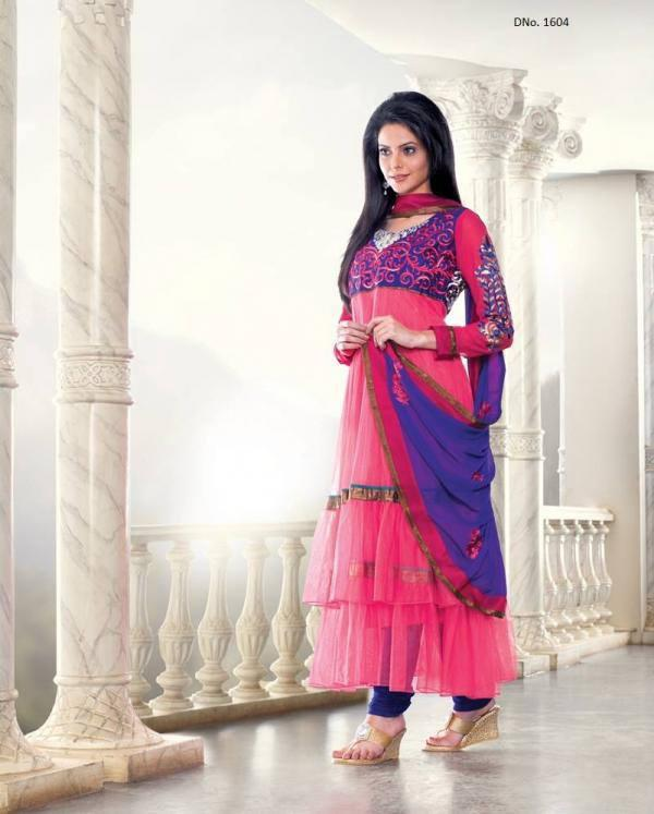 Aamna Sharif In Pink Unstitched Salwar Kameez with Dupatta